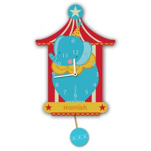 Blue Circus Elephant Wall Clock