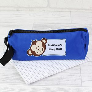 Personalised Blue Monkey Pencil Case