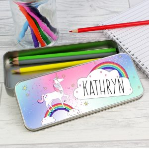 Unicorn Personalised Pencil Tin