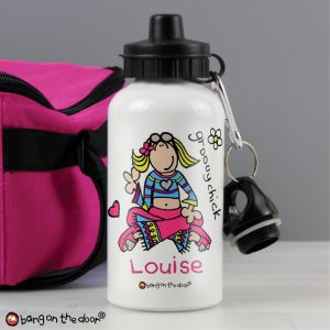 Personalised Girls Water Bottle Groovy Chick