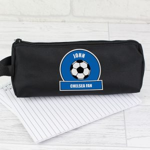 Blue Football Fan Personalised Pencil Case