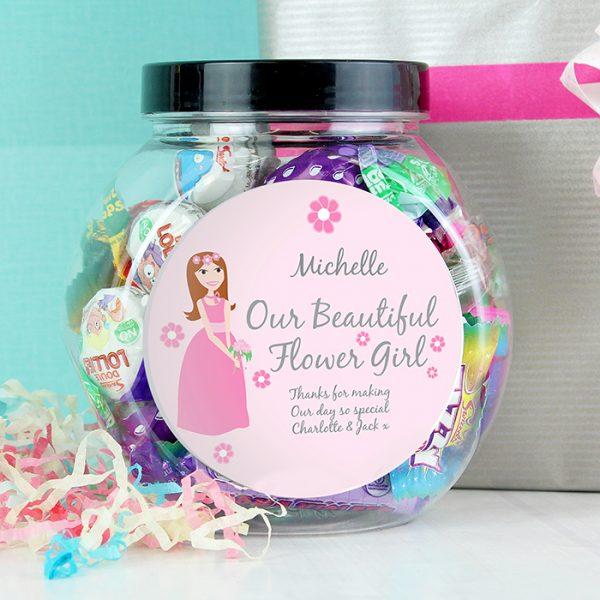 Flower Girl Personalised Sweet Jar