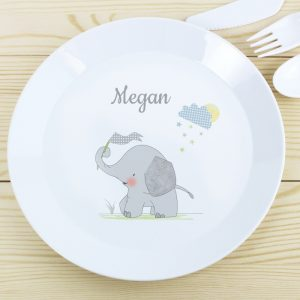 Hessian Elephant Personalised Plastic Plate
