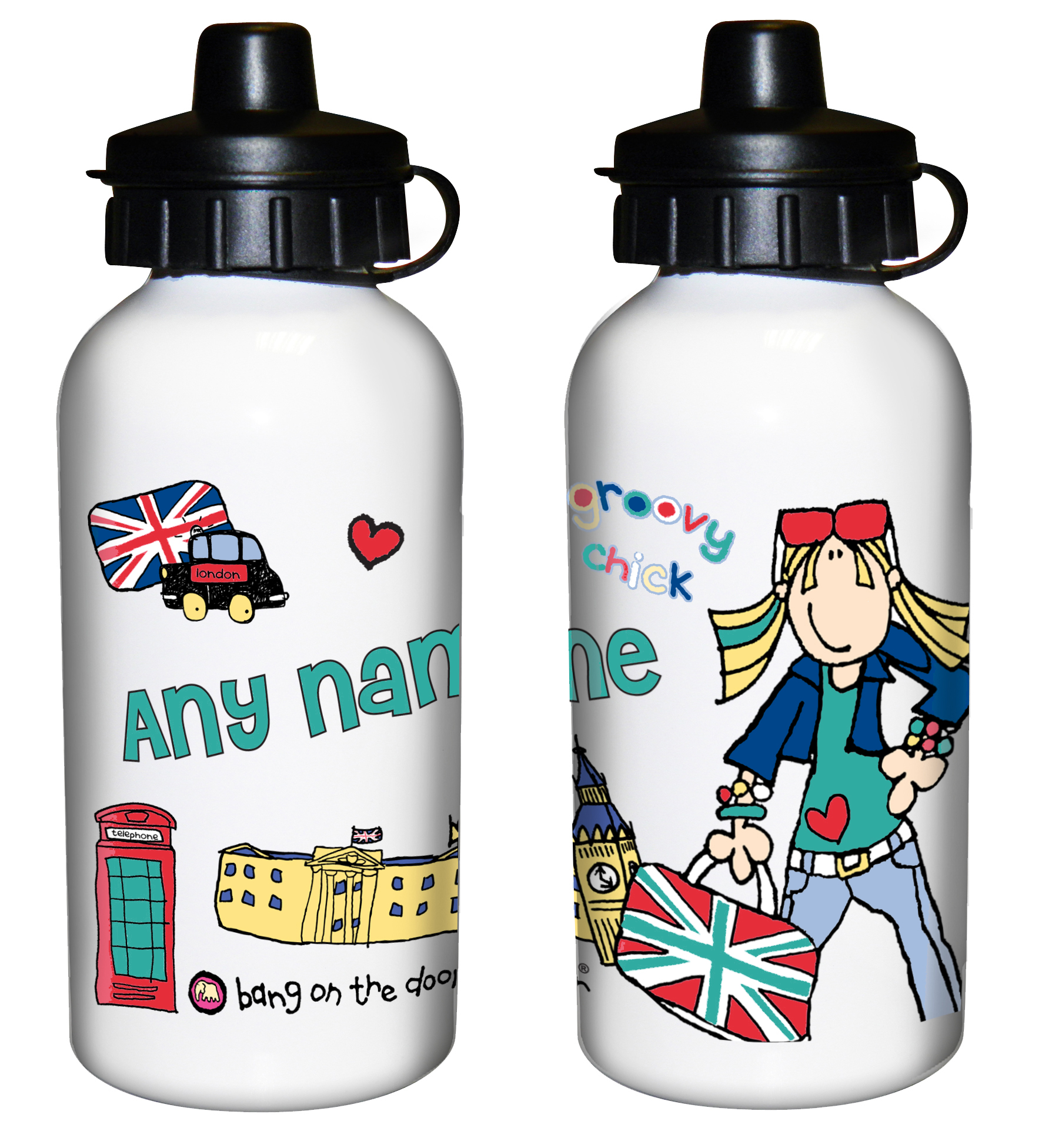 bb39a6c65a Bang on the Door London Chick Drinks Bottle – Personalised Kids ...