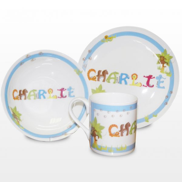 Personalised Breakfast Set - Animal Blue