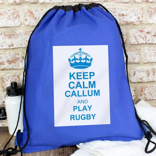 Personalised Keep Calm Blue Swim Kit Bag