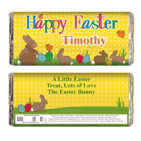 Personalised Easter Bunny Milk Chocolate Bar - matching gifts available. Personalise this Easter Bunny Chocolate Bar