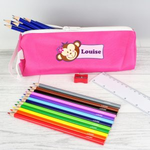 Pink Monkey Pencil Case with Contents