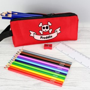 Personalised Red Skull Pencil Case