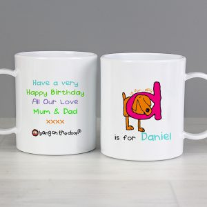 Bang on the Door Animal Alphabet Personalised Plastic Mug