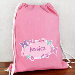 Personalised Butterfly Drawstring Kit Bag