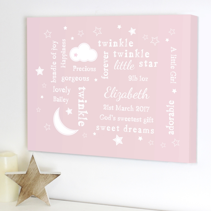Personalised Canvas Nursery Picture - Twinkle Twinkle Typography ... 6877cb3292