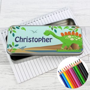 Personalised Dinosaur Pencil Tin with Pencil Crayons