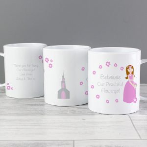Personalised Flower Girl Plastic Mug