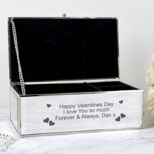 Personalised Hearts Jewellery Box