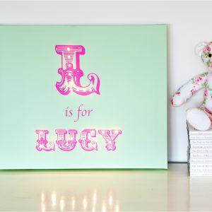 Personalised Illuminated Canvas - Alphabet Girls