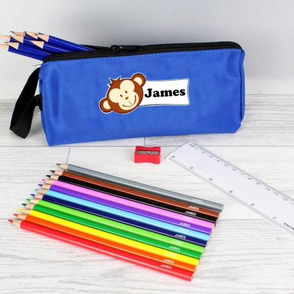 Personalised Monkey Blue Pencil Case