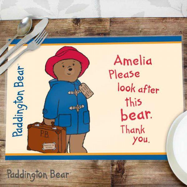 Personalised Paddington Bear Placemat