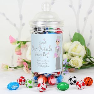 Personalised Page Boy Chocolate Sweet Jar