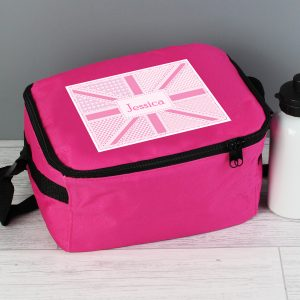 Personalised Pink Union Jack Lunch Box