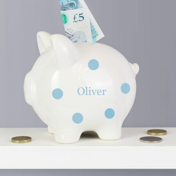 Personalised Polka Dot Piggy Bank
