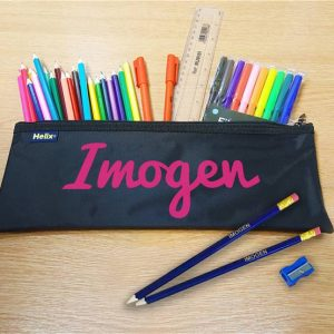 Pink Flocked Pencil Case With Contents