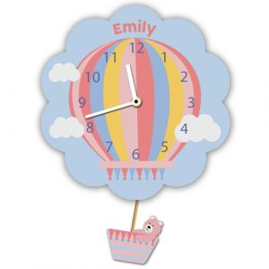 Pink Hot Air Balloon Clock