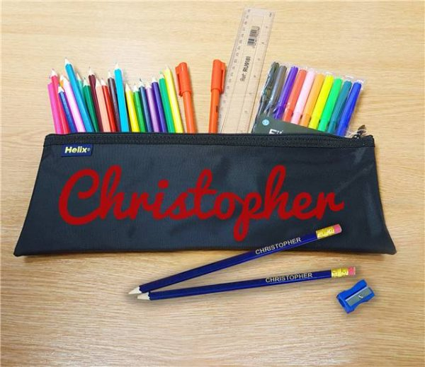Red Flocked Pencil Case With Contents