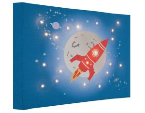 Space Rocket Canvas with Lights