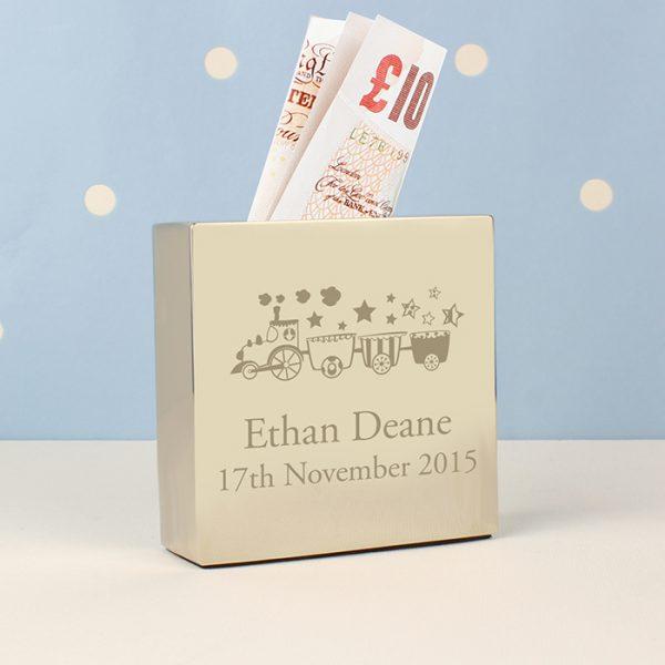 Train Design Personalised Square Money Box