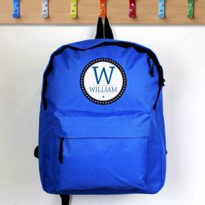 blue personalised school bag