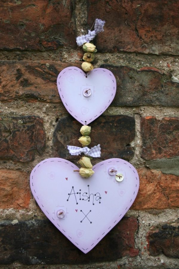 double heart personalised wooden sign