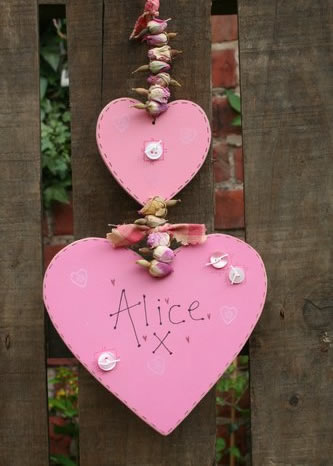 personalised double wooden heart handmade sign
