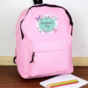 personalised butterfly school bag