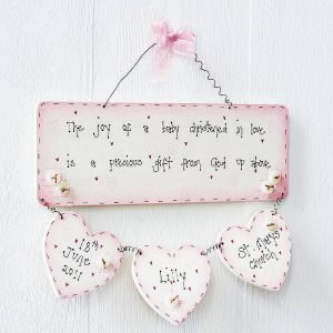Handmade Christening Wooden Sign