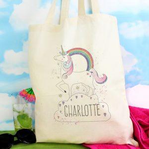 personalised unicorn cotton bag