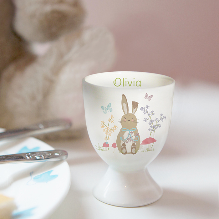 Personalised egg cup easter meadow bunny design personalised egg cup negle Image collections