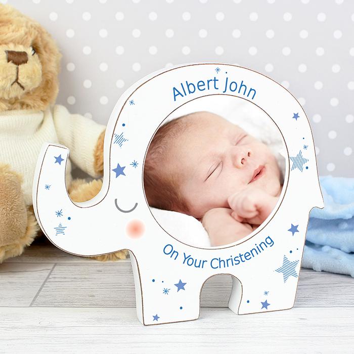 Personalised Blue Stars Elephant Photo Frame - Christening & New ...
