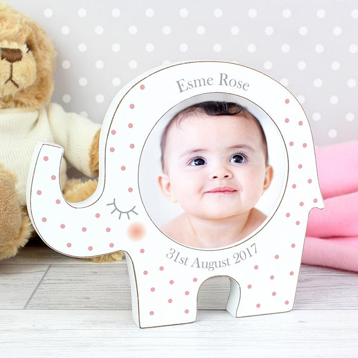 Personalised Pink Elephant Photo Frame - Christening & New Baby Frames