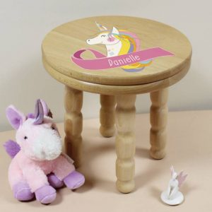 Unicorn Personalised Wooden Stool