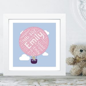 Personalised Framed Picture - Bunny Balloon Word Art