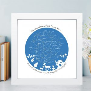 Personalised New Baby Constellation Star Chart in Box Frame