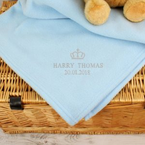 Personalised Boys Baby Blanket - Blue Crown