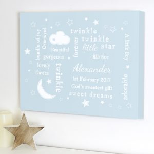 Personalised Canvas Nursery Picture Blue