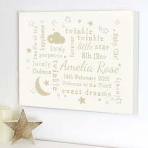 Personalised Canvas Nursery Picture Cream