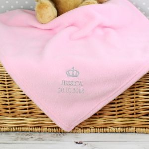 Personalised Girls Baby Blanket - Crown
