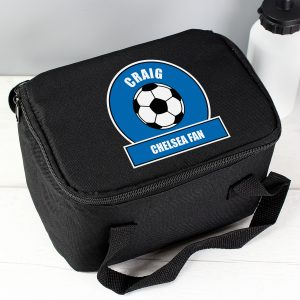 Personalised Dark Blue Football Lunch Bag