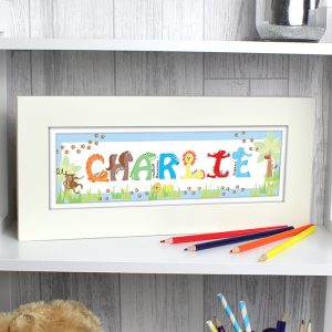 Personalised Animal Name Frame - Blue
