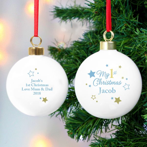 Personalised 1st Christmas Bauble BLue