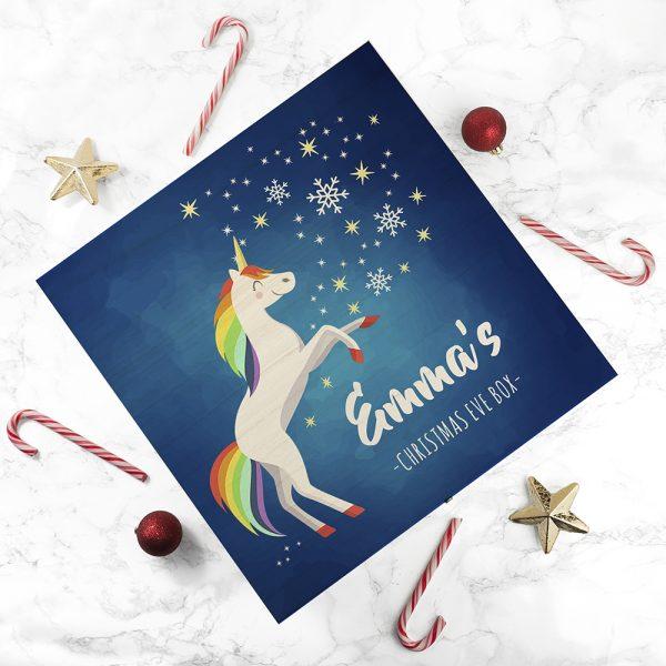 Personalised Rainbow Unicorn Christmas Eve Box - Large